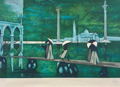 La montée des eaux à Venise Lithographie...