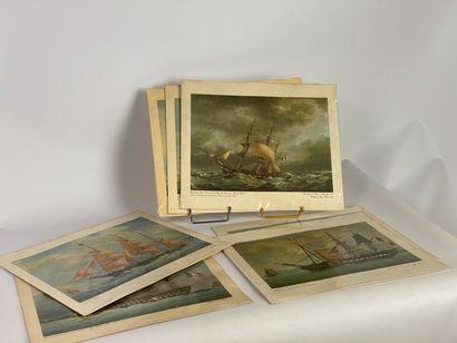 ROUX (d'après) Lot de sept gravures de marine...