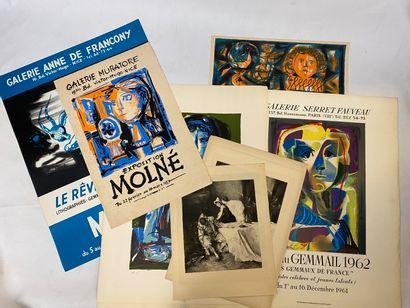 Lot de cartons à dessins contenant des lithographies...