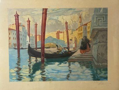 ROGANEAU. Vue des canaux de Venise Litho...
