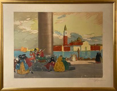 ROGANEAU. Carnaval de Venise, place St Marc...