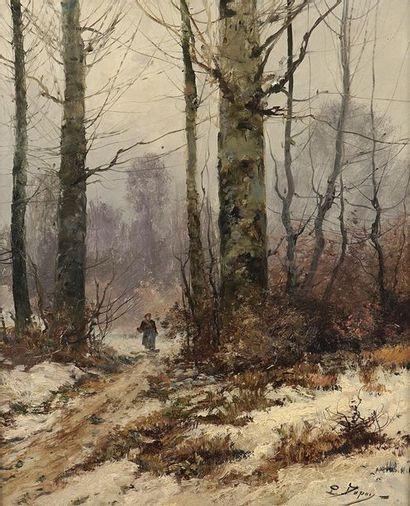 Eugène GALIEN-LALOUE (1854-1841). Sous-bois animé en hiver Huile sur toile, signée...