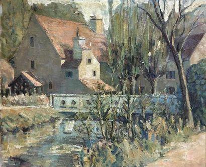 Oswald GETTE (1873-1941). Maison au pont Huile sur toile, signée en bas à gauche....