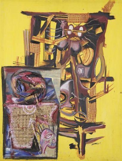 ECOLE DE POTO POTO. Composition abstraite Huile et collage sur toile, signé en bas...