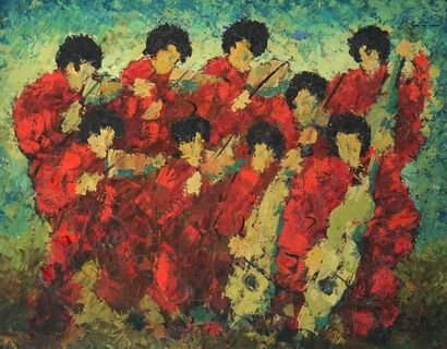 Emmanuel BELLINI (1904-1989). Les musiciens rouges Huile sur toile, signée en bas...