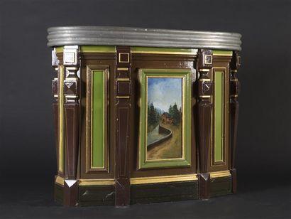 Bar de forme élliptique en bois laqué souligné...