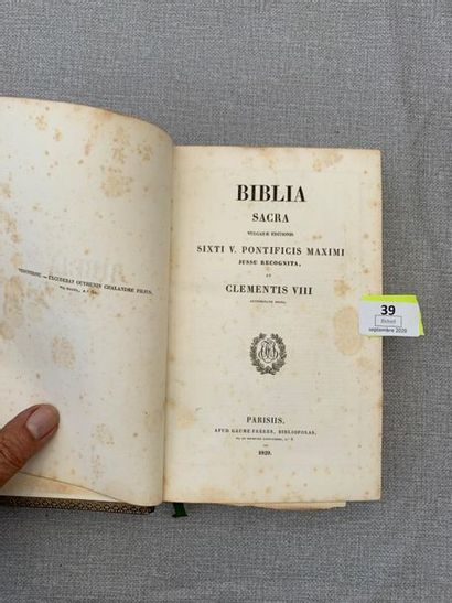 Biblia Sacra. 1829. Cartes. Plein veau romantique,...