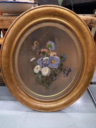 A SICARD Fleurs Mine et aquarelle sur papier...