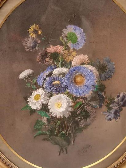 A SICARD Fleurs Mine et aquarelle sur papier 60 x 49 cm Signée daté 1855