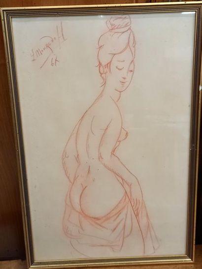 Leon MOURADOFF Nu feminin, Sanguine sur papier...