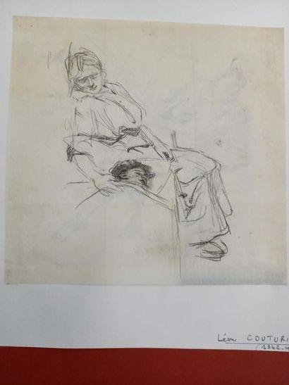 Léon COUTURIER (1842-1935) La garde malade Dessin au crayon 20 x 21 cm