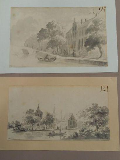 Ecole hollandaise Jakob SCHOEMAKER (1792-1867) Paysages Dessins 12 x 19 cm 10 x...