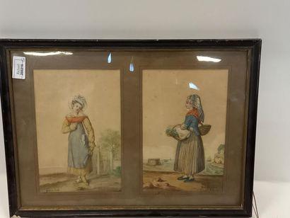 Deux dessins en couleurs Femmes de Blaye...