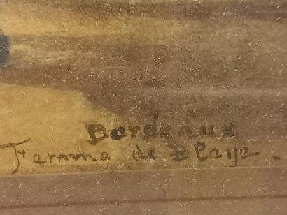 Deux dessins en couleurs Femmes de Blaye à Bordeaux 22 x 14.5 cm encadrés