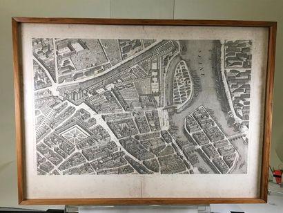 Gravure en noir plan de Paris d'après le plan de Sully, 18ème, déchirures marginales...