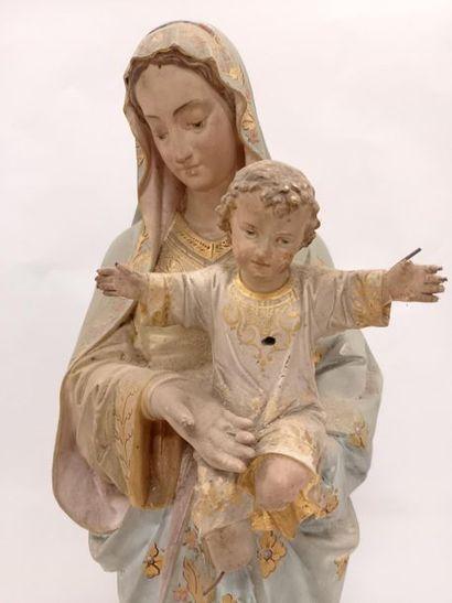 Statue Vierge à l'enfant en plâtre H : 62 cm Quelques amnques
