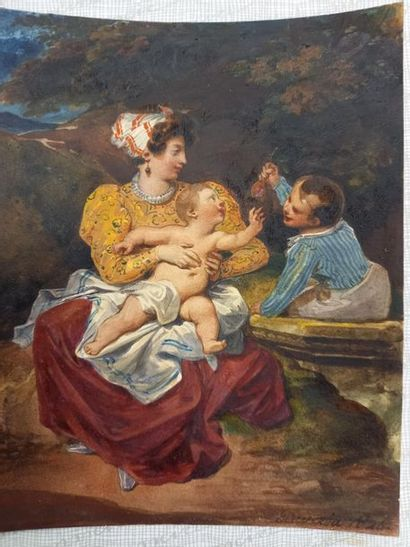 2 dessins : scène de cour et enfants jouants Signés 18 x 14 cm 19.5 x 12 cm