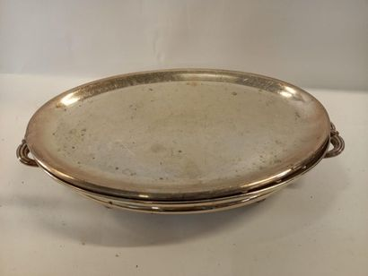 Chauffe plat en métal argenté