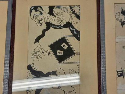Carlo RIM (1902-1989) Suite de 3 dessins 52 x 11.5 cm