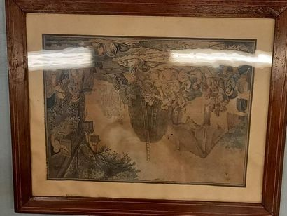 Paire de gravures réhaussées Retour des champs 31 x 43 cm