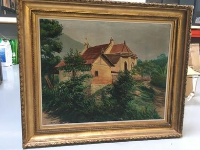 L. DALLONGEVILLE Chevet d'eglise Huile sur...