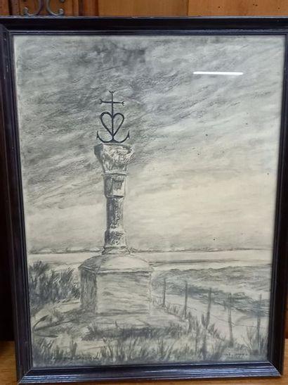 GB JANVEZ La croix des Gardians Dessin au...