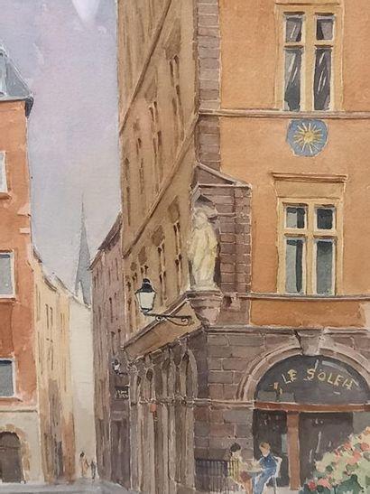 Jacques CORNU La montée du Gourguillon à Lyon Aquarelle 52 x 37 cm