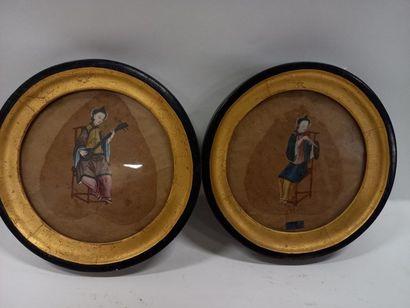 Deux peintures à la gouache Canton 19ème D : 22 cm
