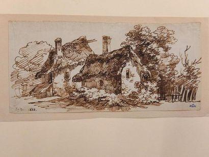 Alexandre CHATELAIN (1778-1852) La ferme Dessin à la plume 10.5 x 23 cm