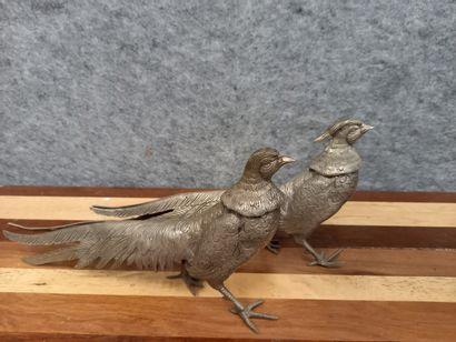 Couple de faisan en métal  L : 30 cm