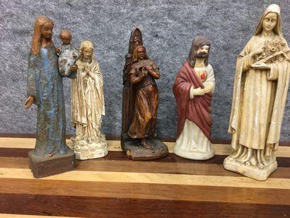lot de cinq sujets religieux /Vierge et Christ  H du plus grand 26 cm