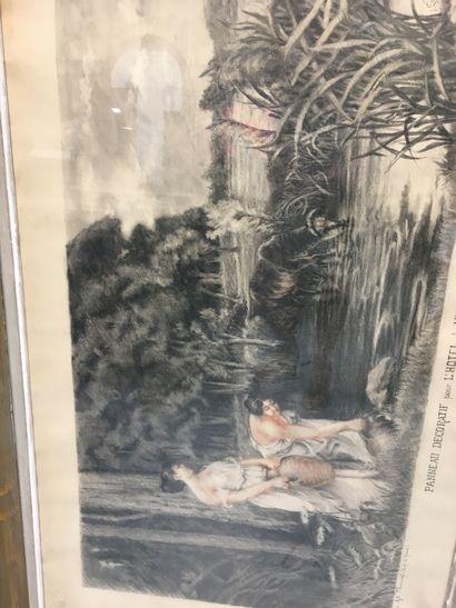 Gravure  Panneau décoratif pour l'hôtel de ville de Tours  A. Leynaud  58 x 100...
