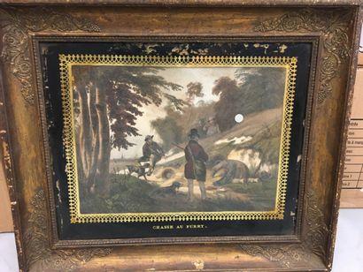 Paire de gravures sur la chasse  Dim à vue 22 x 31 cm
