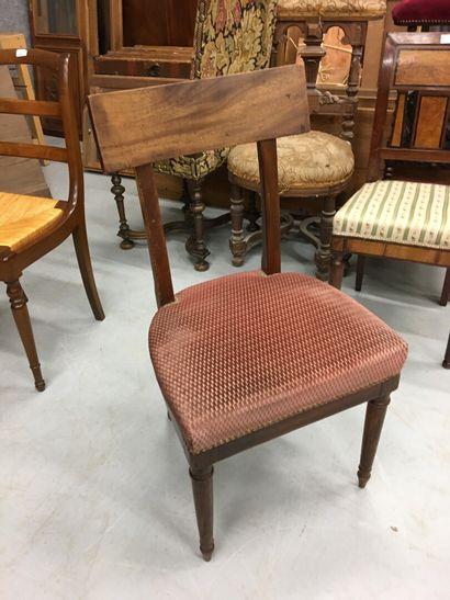 Trois chaises barrette en acajou  19ème  Joint...