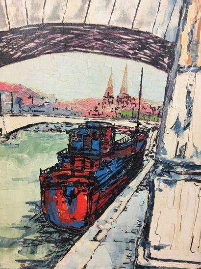 Péniche sur les quais  Huile sur toile  40 x 32 cm