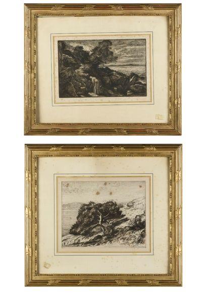 Paul BOREL  Deux eau-forte  Paysage  28 x...