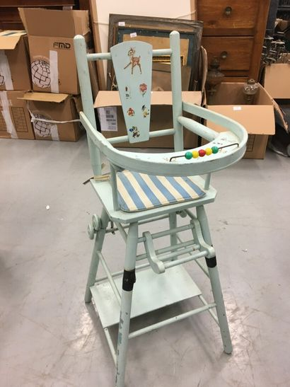 Chaise haute de poupée bleu clair