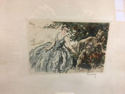 DUBY  Paire de gravures  Femme et satyre  21 x 27 cm