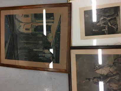 lot de pièces encadrées dont Puvis de Chavanne, Napoléon...