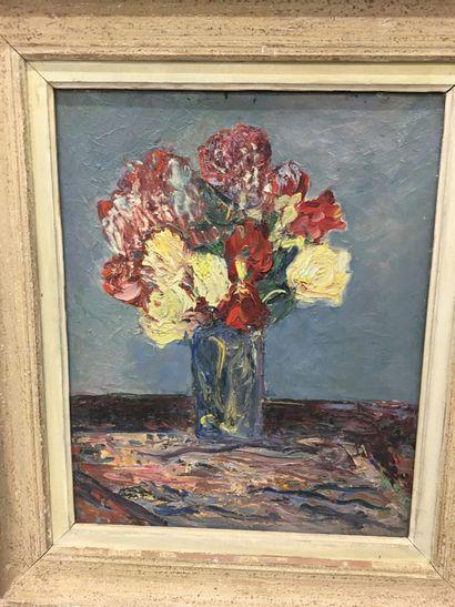 RAMON  Bouquet de fleurs  Huile sur toile...