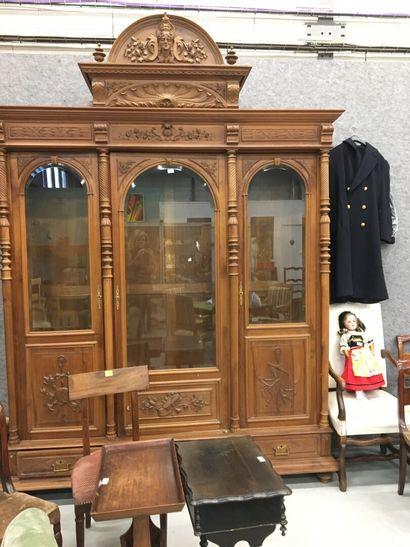 Bibliothèque 3 portes fronton sculpté  H...