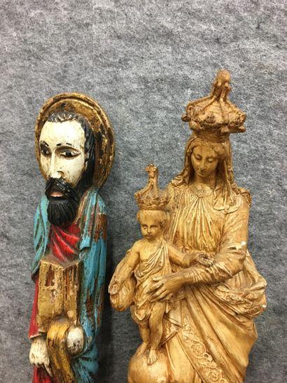 Lot de statues dont Vierge en plâtre  Vierge à l'enfant : 46 cm