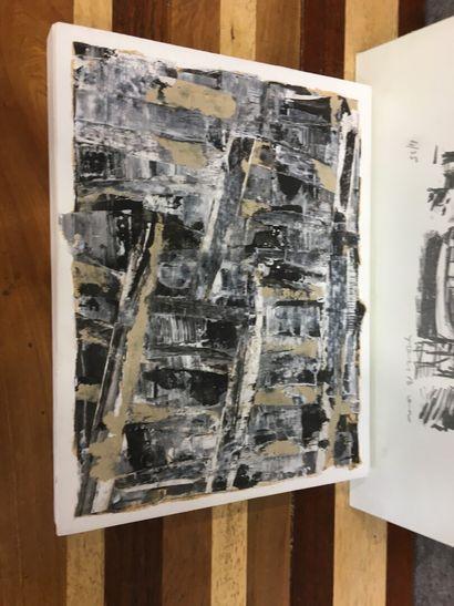 Deux pièces encadrées  Vue de ville  Lithographie et huile sur toile