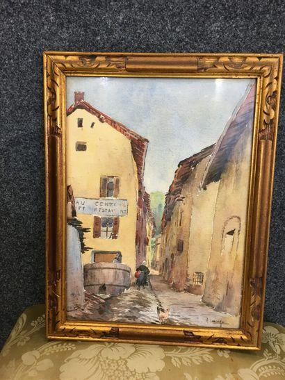 LACAZE  Vue de village  Aquarelle signée en bas à droite  37 x 26 cm