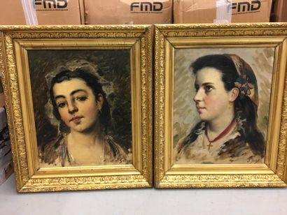 J.GARDOT  Pauire de portraits de jeune fille...