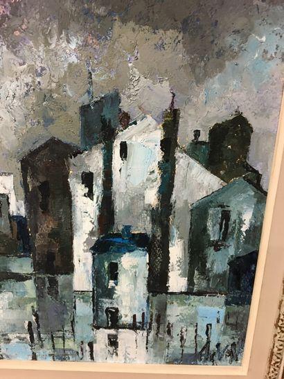 Vue de ville  Huile sur panneau  33 cm x 41 cm