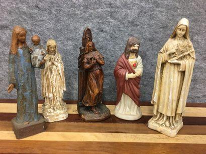 lot de cinq sujets religieux /Vierge et Christ...