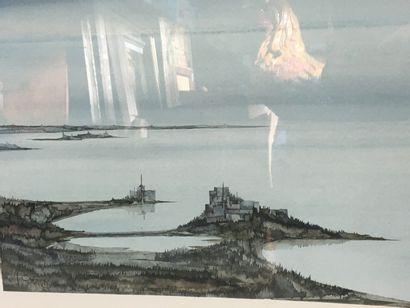 J GOLL...  Paysage marin fantastique  Aquarelle sur papier  33 x 65 cm  Signée en...