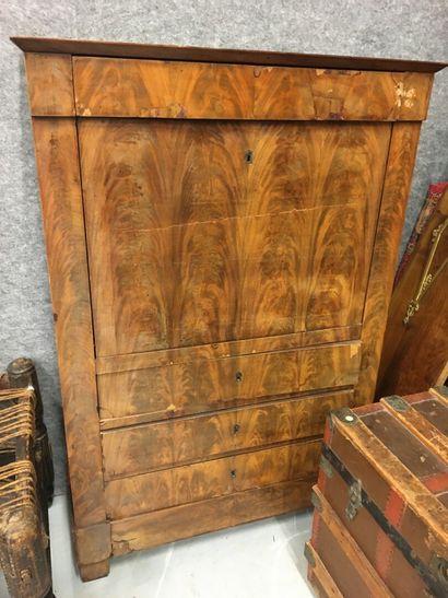 Secrétaire en bois de placage  137 x 93 cm...