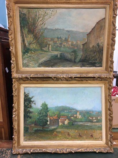 F BOUCHET  Deux paysages  Huile sur panneau...
